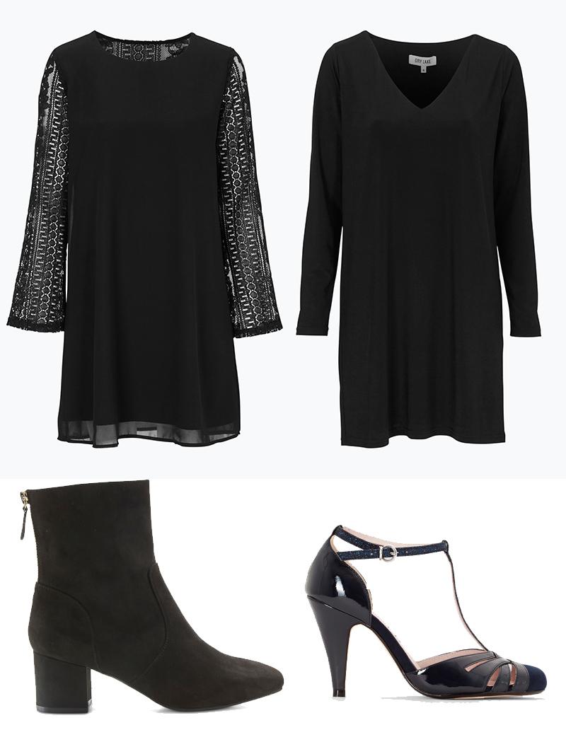 svarta klänningar och skor