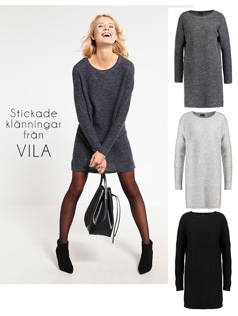 grå stickad klänning