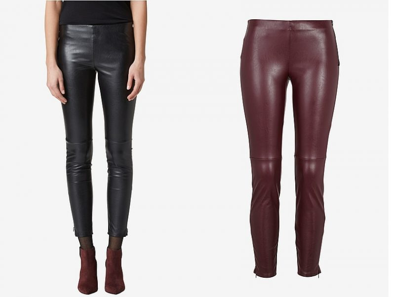 vinröda skinnleggings