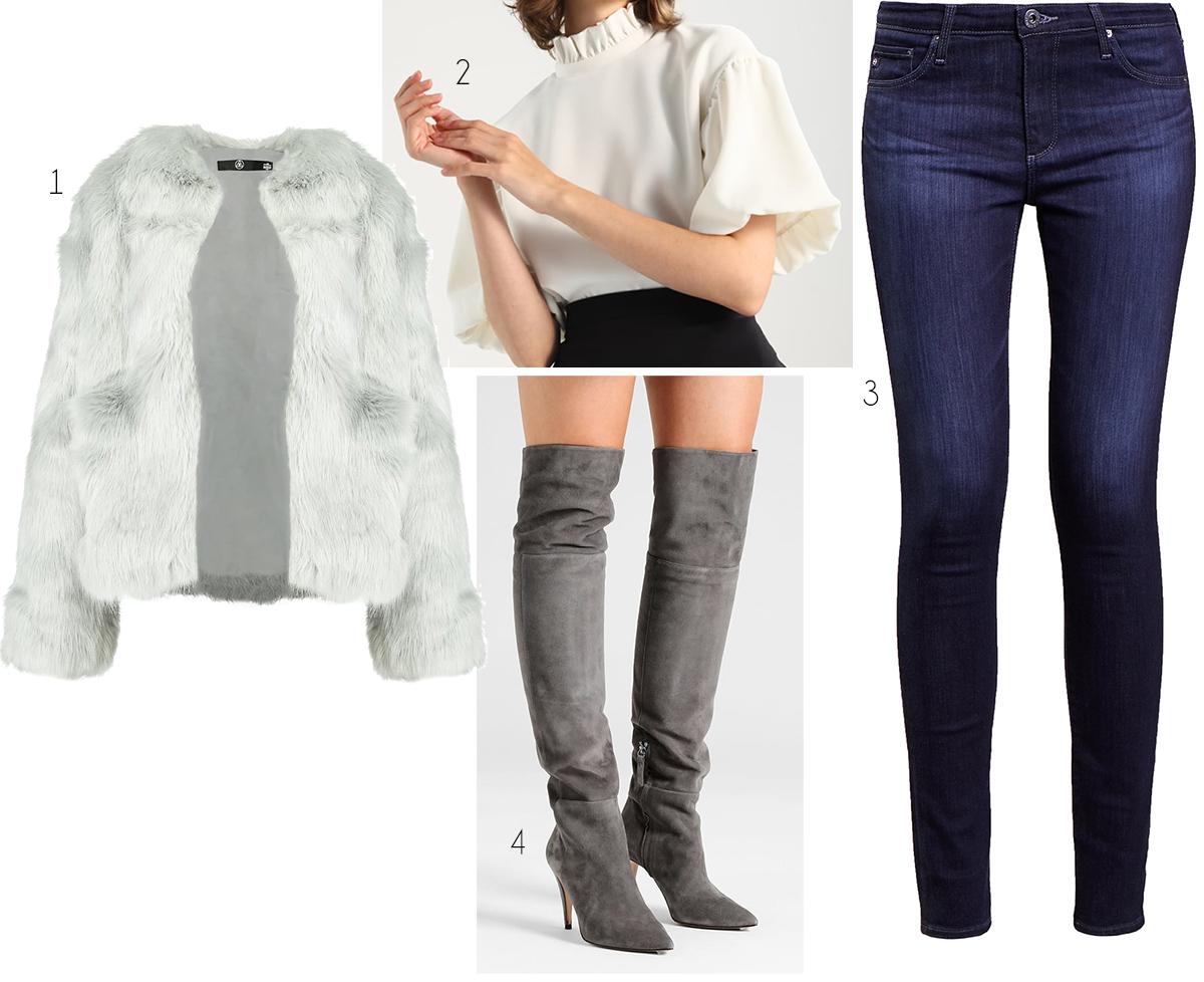 mörkblå jeans vitt grått