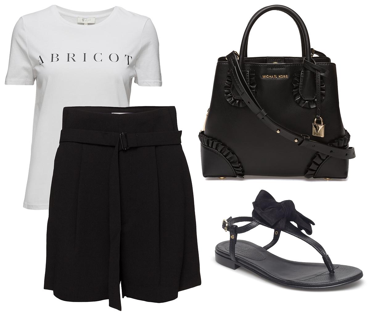 ee2ae8c80da4 T-shirt, shorts och sandaler kan säkert låta lite sunkigt och  vardagsbetonat, men det behöver inte vara så. Här är en svart och vit  outfit med finshorts som ...
