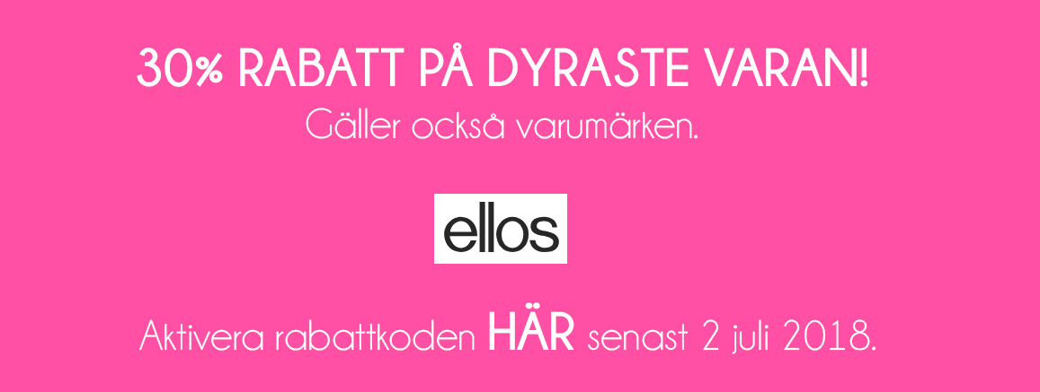 30% rabatt på dyraste varan hos Ellos med rabattkod
