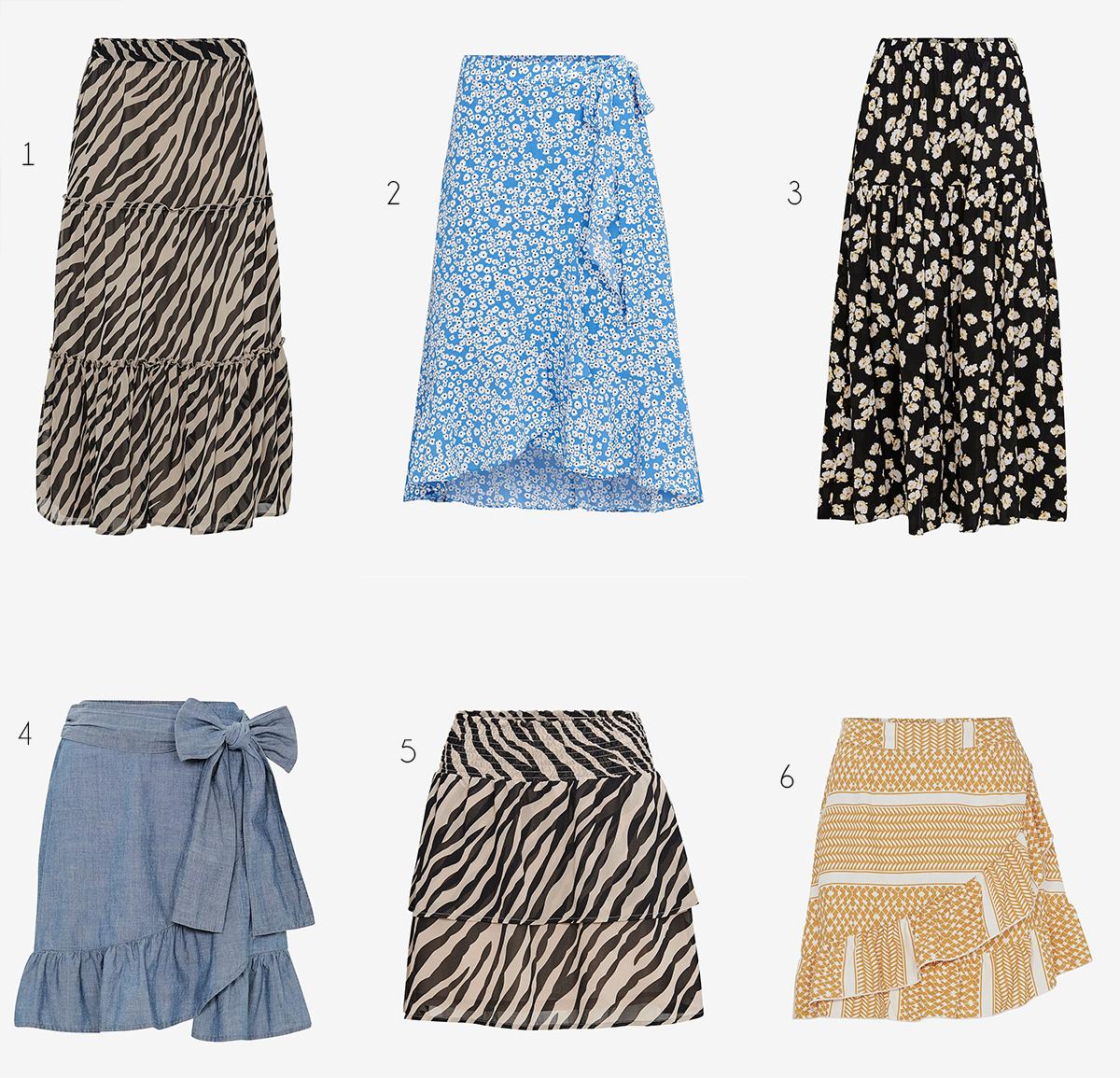 kjolar i mönster och färg